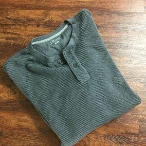 IZOD Gray Pullover Button V-Neck Cotton Mens Shirt